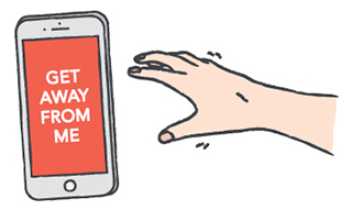 An illustration of a phone asking the hand to get away from it