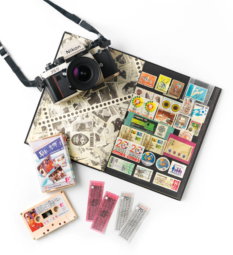 Travel back in time with old bus tickets and stamp albums, or cassettes and film cameras from the analogue age.