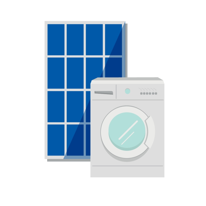 Solar panels and washing machine