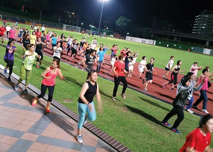 Residents of Woodlands take part in a Sporting Friday event initiated by Woodlands Sport Centre staff.
