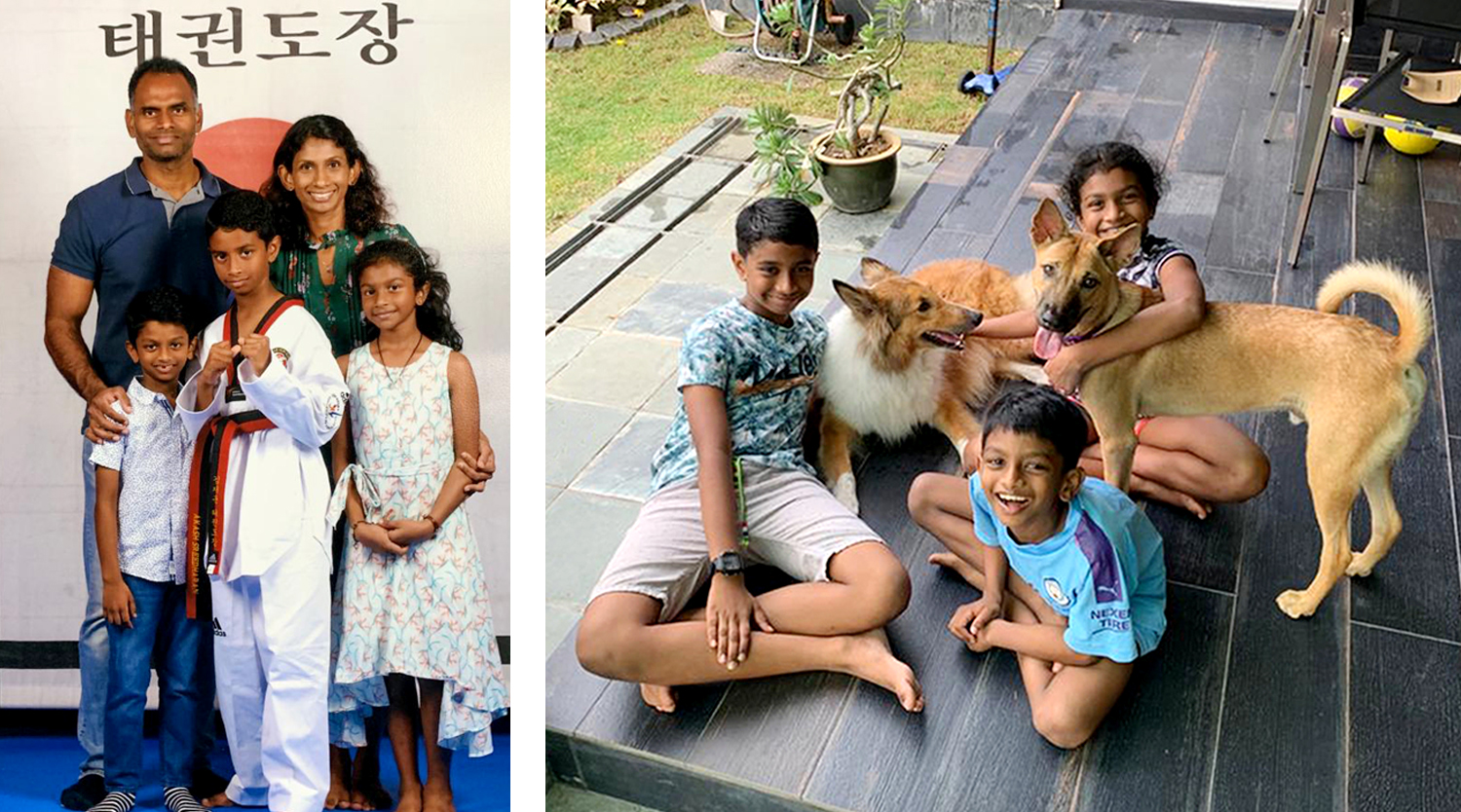 COL (Dr) Shalini's family (left) and her three children with their adopted dog Baasha (right, standing) and a friend's collie that the family looked after for a weekend.