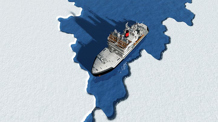 An ice-breaking ship ploughs through thin ice