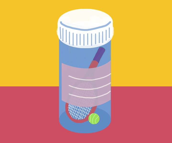 Tennis racquet and a tennis ball in a prescription bottle