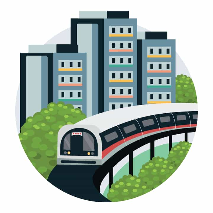 Graphic of MRT train with housing flats in the background
