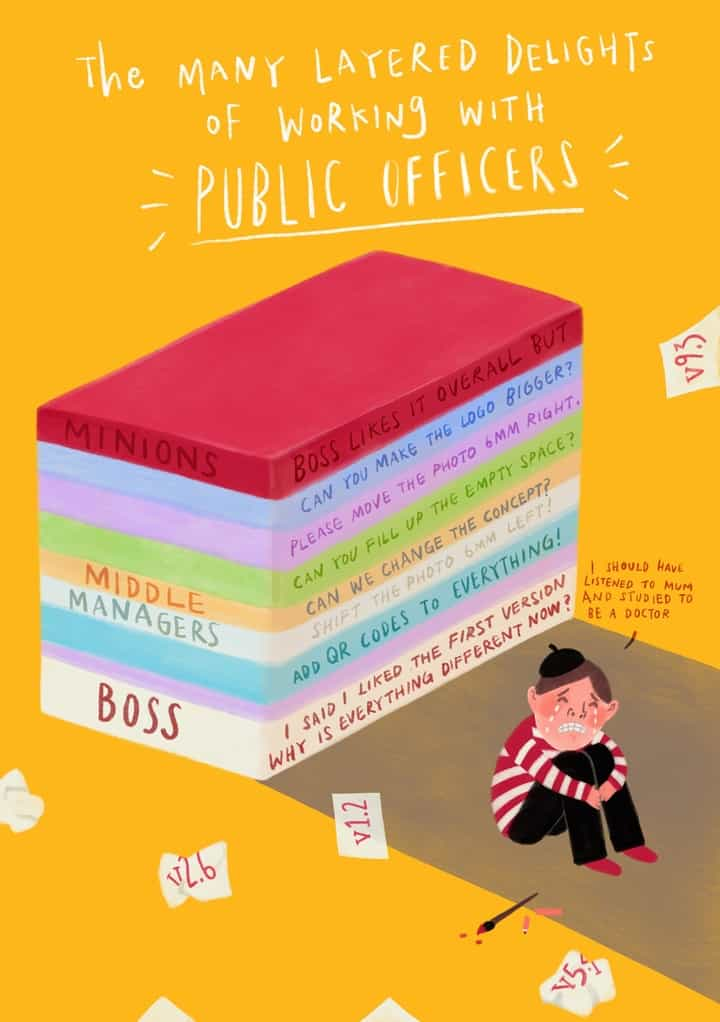 Illustration about the many layered delights of working with public officers by Anggee Neo
