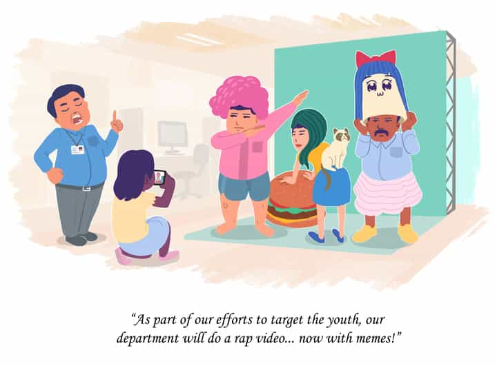 An illustration about public officers doing a rap video with memes to target the youth. By Dan Wong