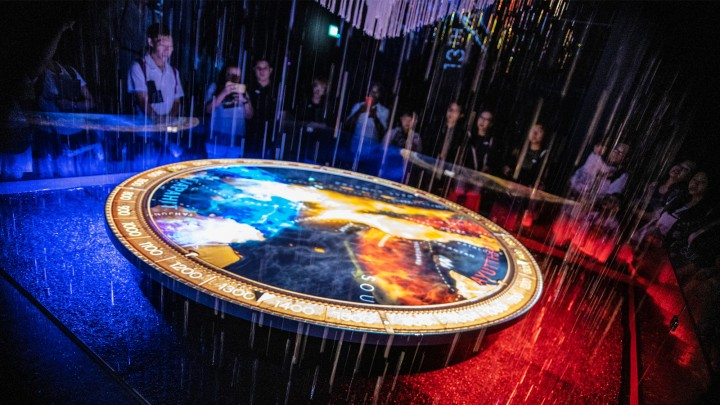 "Rain ""falls"" in reverse in an exhibition linking Singapore's history with its climate."