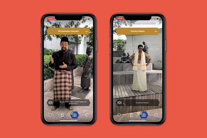 Shots from the BalikSG augmented reality app, featuring an actor playing a Malay pondok chief and an Indian financier.