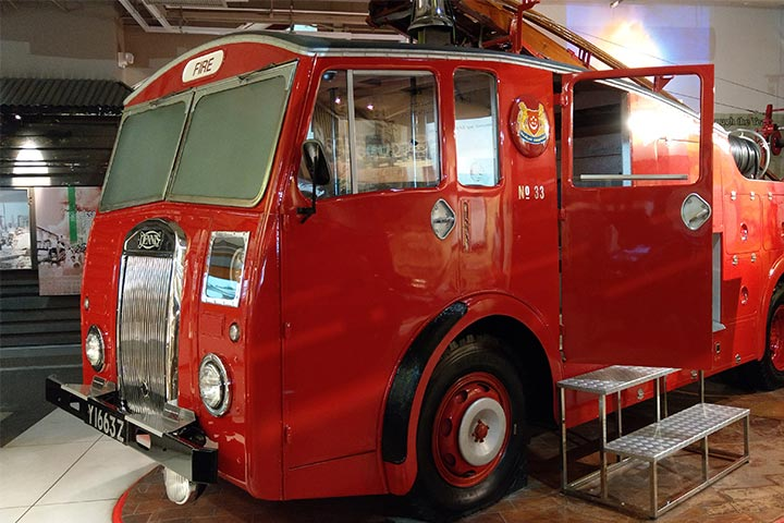 Visitors to the Civil Defence Heritage Gallery can climb into the driver's cabin of the Dennis F12 fire engine.