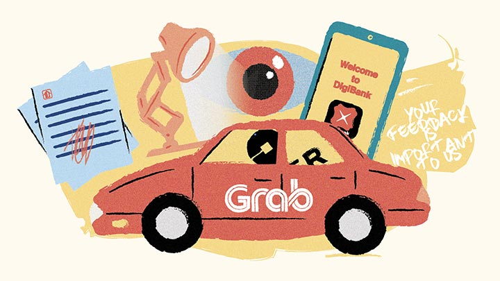 An illustration of a Grab car, and the Digibank app on a phone
