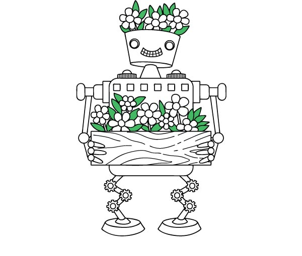 a robot carrying flowers and also with green flowers on its head